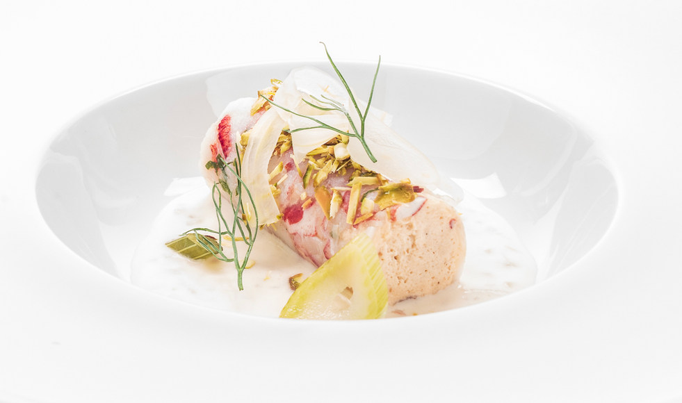 lobster carpachio wrapped mousse with pickled fennel, pistachios and a cold beurre blanc