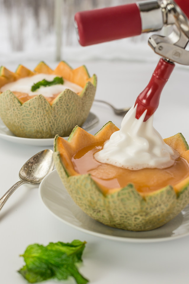 Iced melon Soup with Champagne Espuma