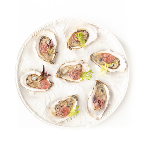 Spinney Creek Oysters with Mignonette Reverse Spherification