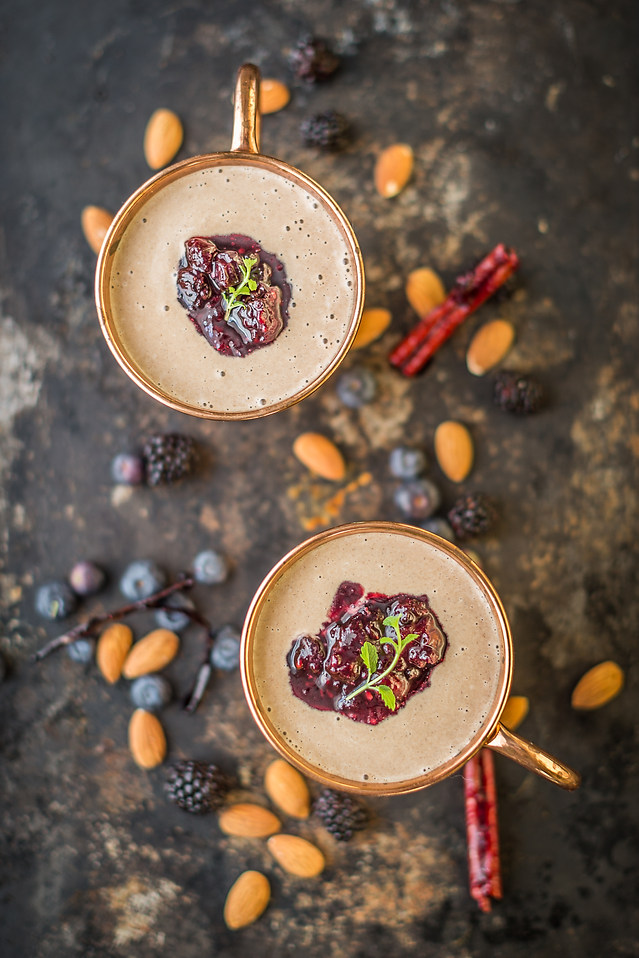 Almond Soup with Berries Couli