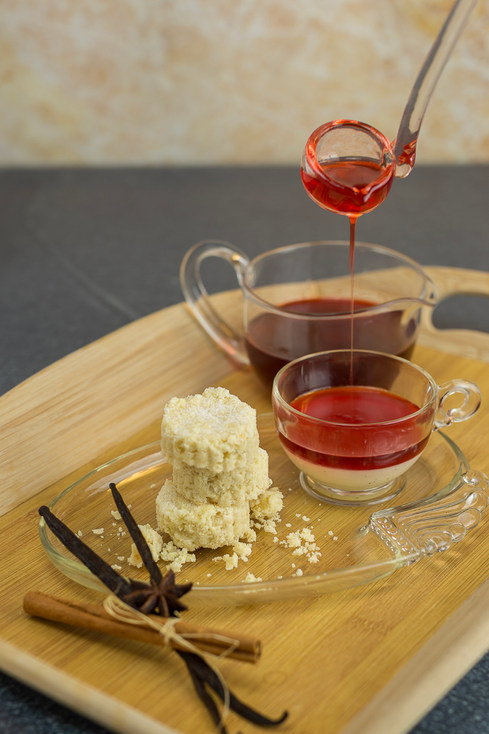 Strawberry Consomme with Scottish Shortbread