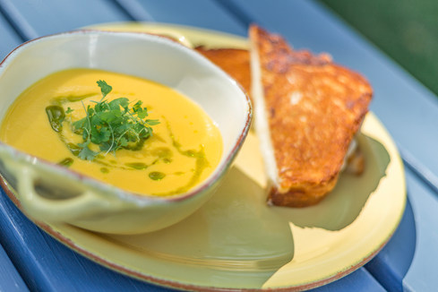 Golden Gazpacho with Grilled Cheese