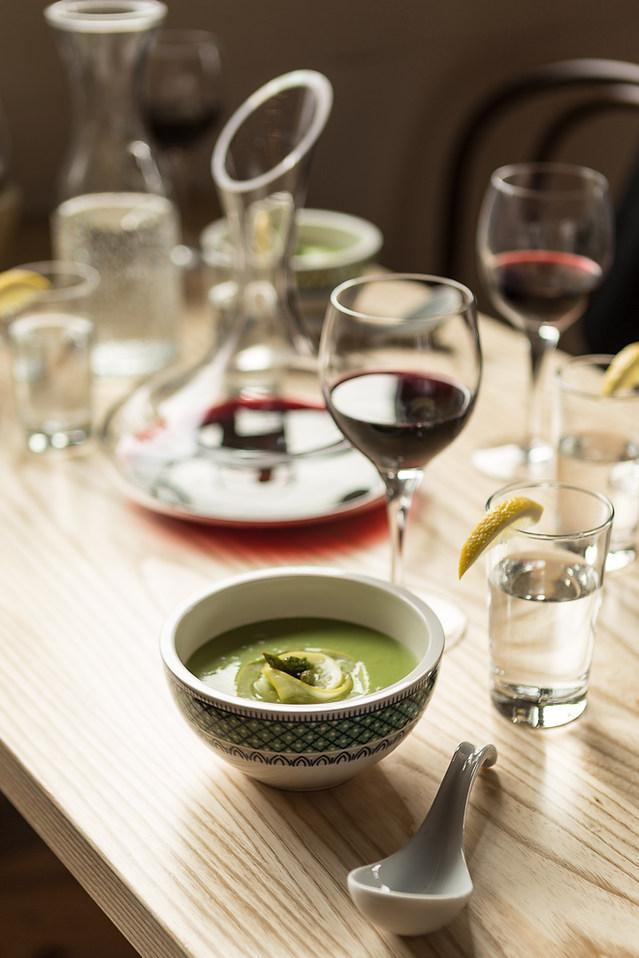 Green Asparagus Soup at Pearl Oyster Bar