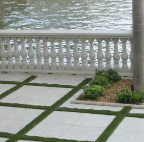 Synthetic turf patio
