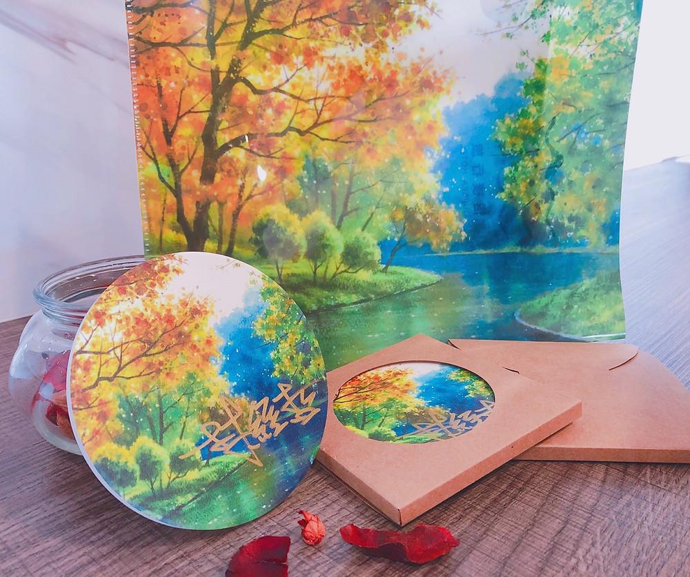 【梧棲行旅 x林經哲】幽靜的森林,澄澈的湖水 水彩王子-林經哲《澄靜》親筆簽名杯墊