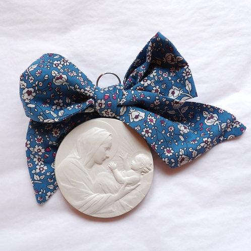 Médaille de berceau -  Vierge à l'Enfant berceau - bleu