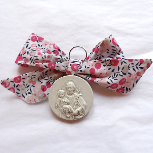 Médaille de berceau -  Saint Joseph - branche d'olivier rose