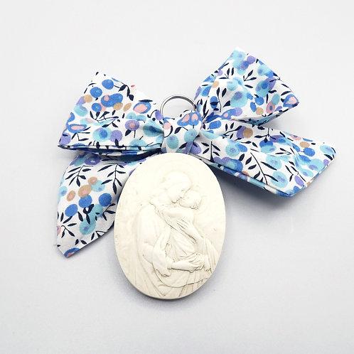 Médaille de berceau -  Vierge à l'Enfant - ovale - olivier bleu