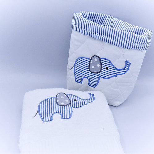 Panière - Serviette de toilette modèle Eléphant