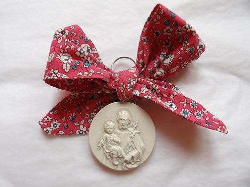 Médaille de berceau -  Saint Joseph - rose