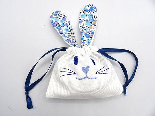 Sachet chocolats lapin - modèle olivier bleu