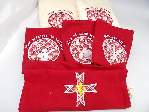 sacs de camp - lot crème et rouge-appliqué