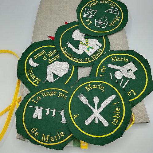 étiquette à coudre pour sacs de camp