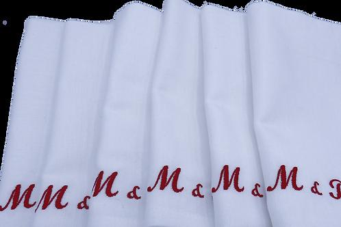 Serviettes de table brodées mini initiales