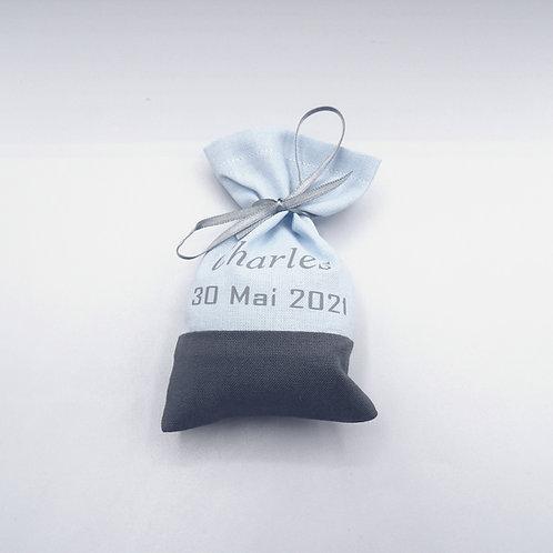 Sachets de dragées - modèle bicolore - prénom et date