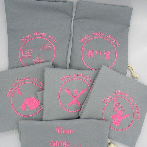 sacs de camp - lot gris rose fluo