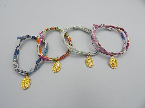 bracelet double tour taille adulte - médaille jaune