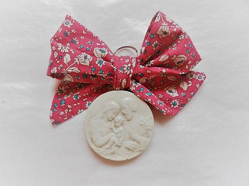 Médaille de berceau -  Sainte Famille - rose