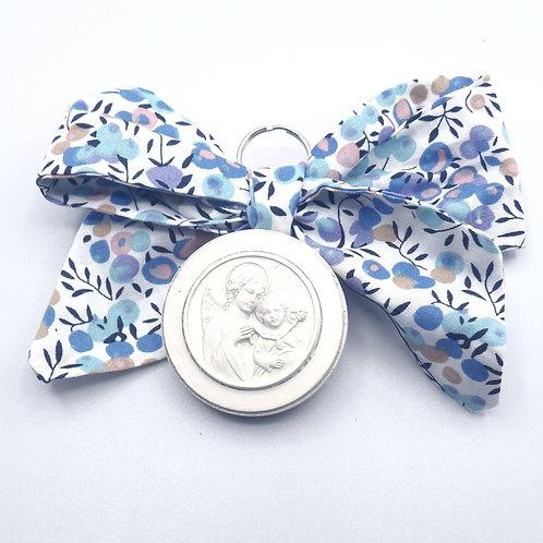 Médaille de berceau -  ange à la médaille -branche d'olivier bleu
