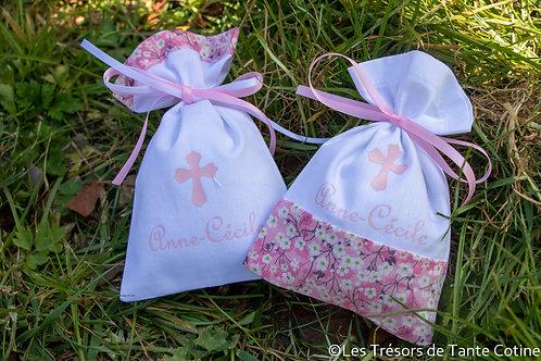 Sachets de dragées - modèle bicolore rose