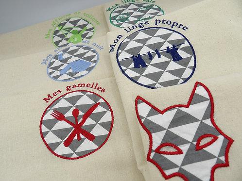sacs de camp - lot géométrique gris