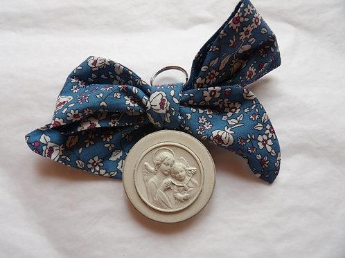 Médaille de berceau -  ange à la médaille - bleu