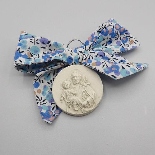 Médaille de berceau -  Saint Joseph - olivier bleu