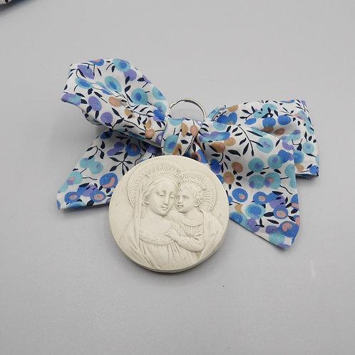 Médaille de berceau- Vierge à l'enfant couronnée- branche d'olivier bleu