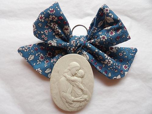 Médaille de berceau -  Vierge à l'Enfant - ovale - bleu