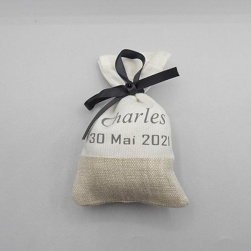 Sachets de dragées - modèle blanc et lin - prénom et date