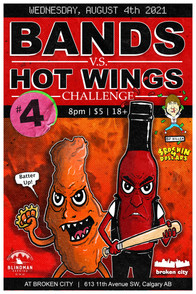 Rockin 4 Dollars - Bands VS Hot Wings Poster