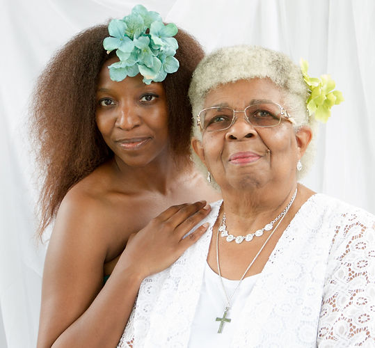Chicago Portrait Photographer Meka Hemmons and mom, Frances. Metka is among the best top portrait, headshot, family, beauty, glamour, power photographers in Chicago.