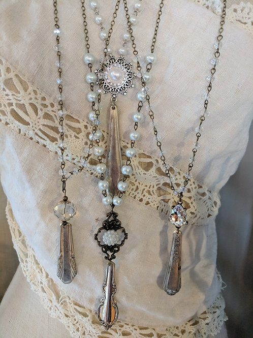 Vintage Silver Plate Spoon End with Bling Necklace