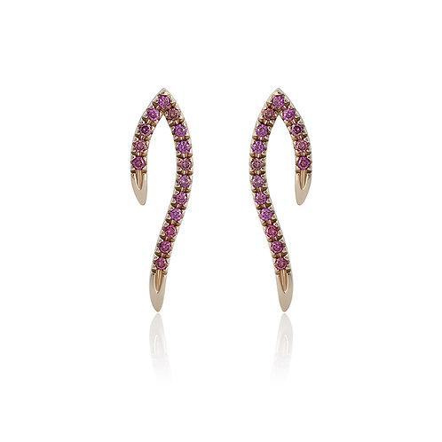 Earrings with purple diamonds