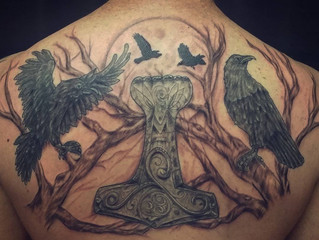 Odin's ravens with Thor's hammer