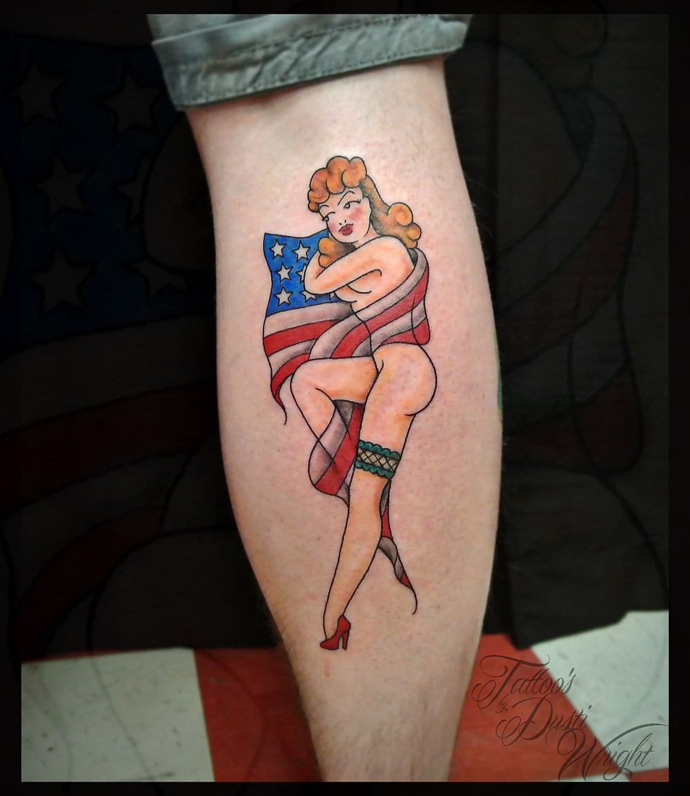 Traditional pin up tattoo