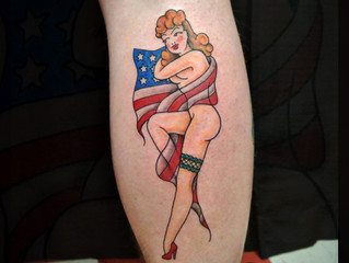 American traditional pinup tattoo
