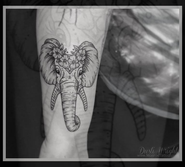 This is a hella cool elephant tattoo designed by Dusti. I love the detail in the eye's this is one cool ass tattoo.