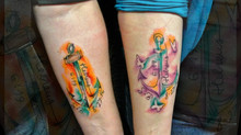 Water color tattooed anchors