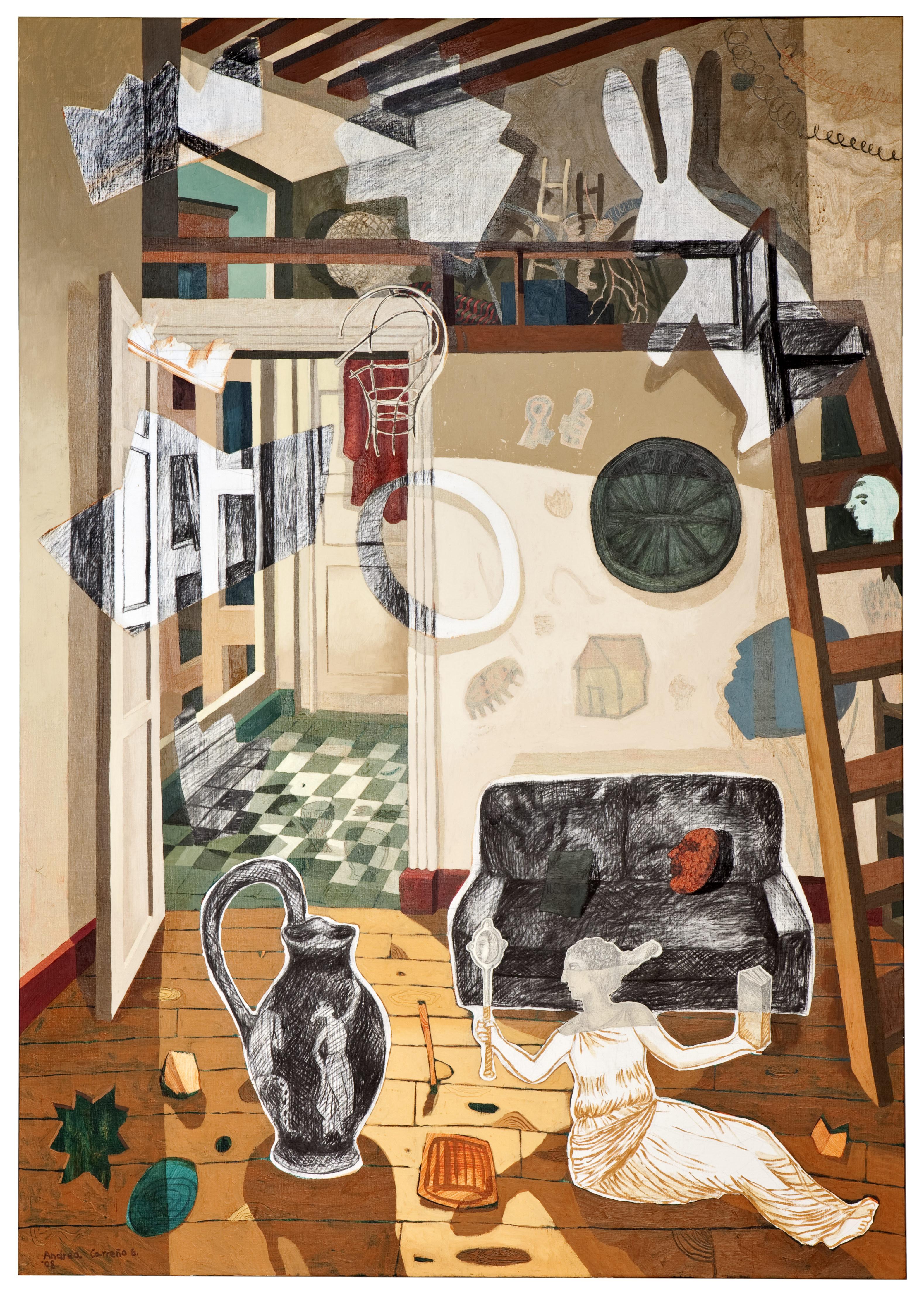 Interior con anfora y conejo
