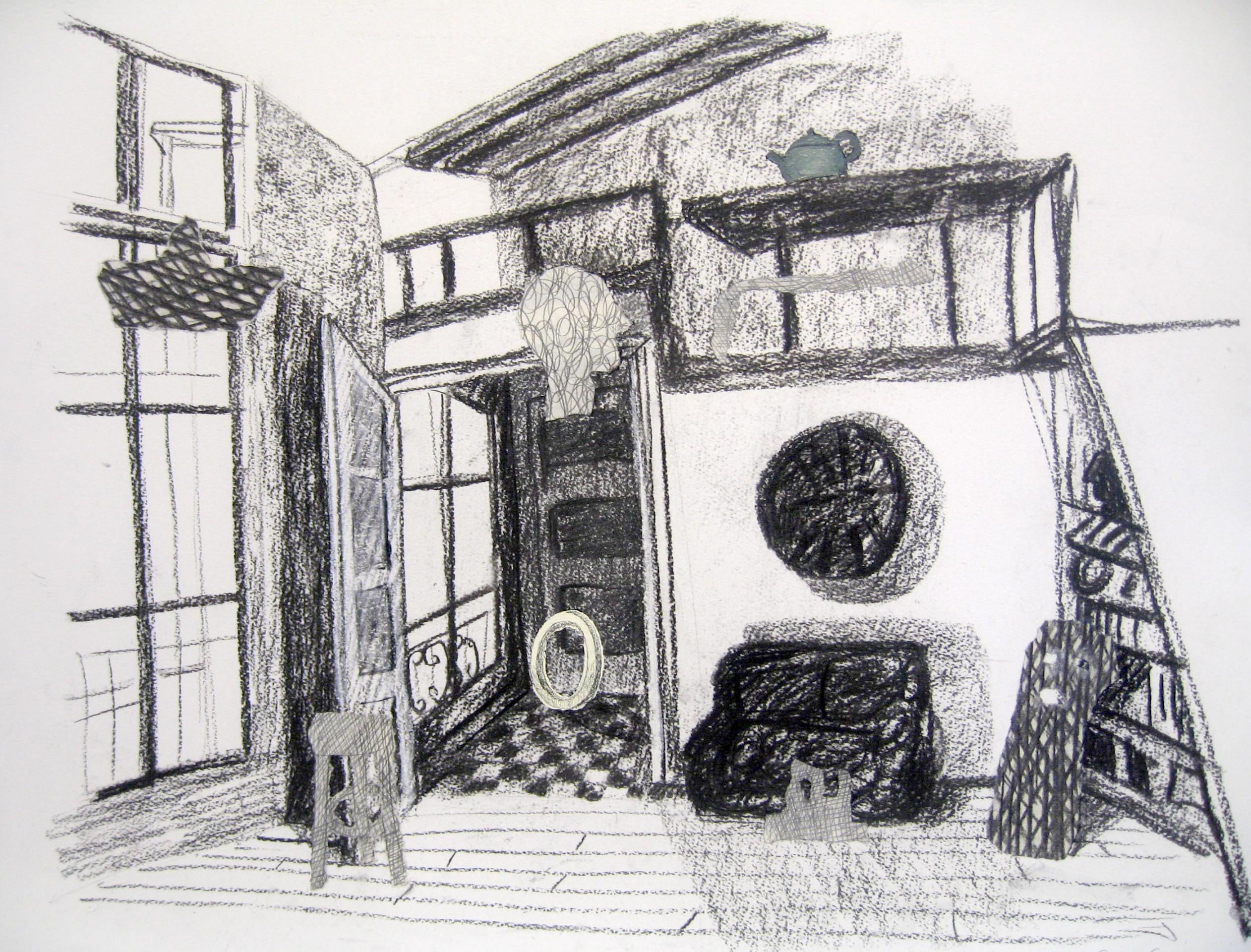 Interior con bote y tetera
