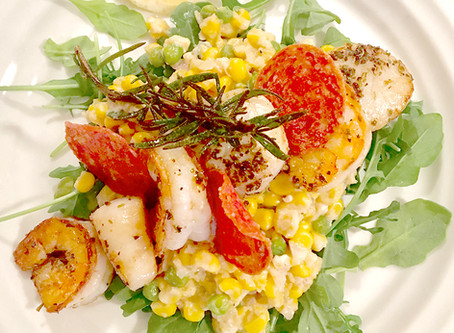 Seared Spiced Shrimp on Corn and Pea 'Risotto