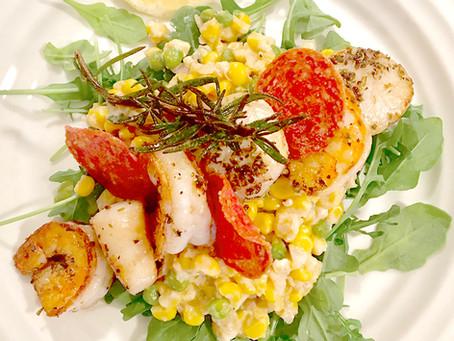 Seared Spiced Shrimp on Corn and Pea 'Risotto