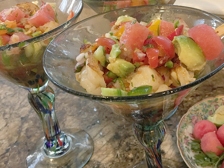 Mixed Seafood and Watermelon Ceviche'tini's