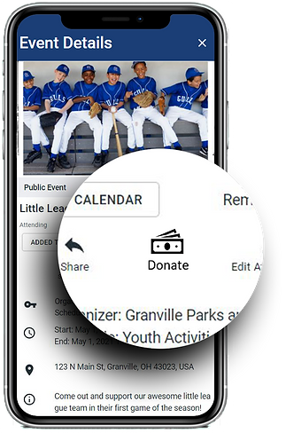 Donate button on the Yodel calendar event details page.