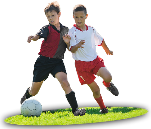 Two kids playing soccer.