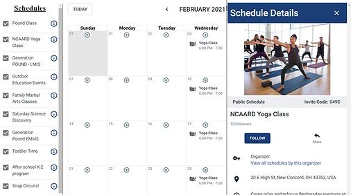 Yodel calendar widget for organization's websites.