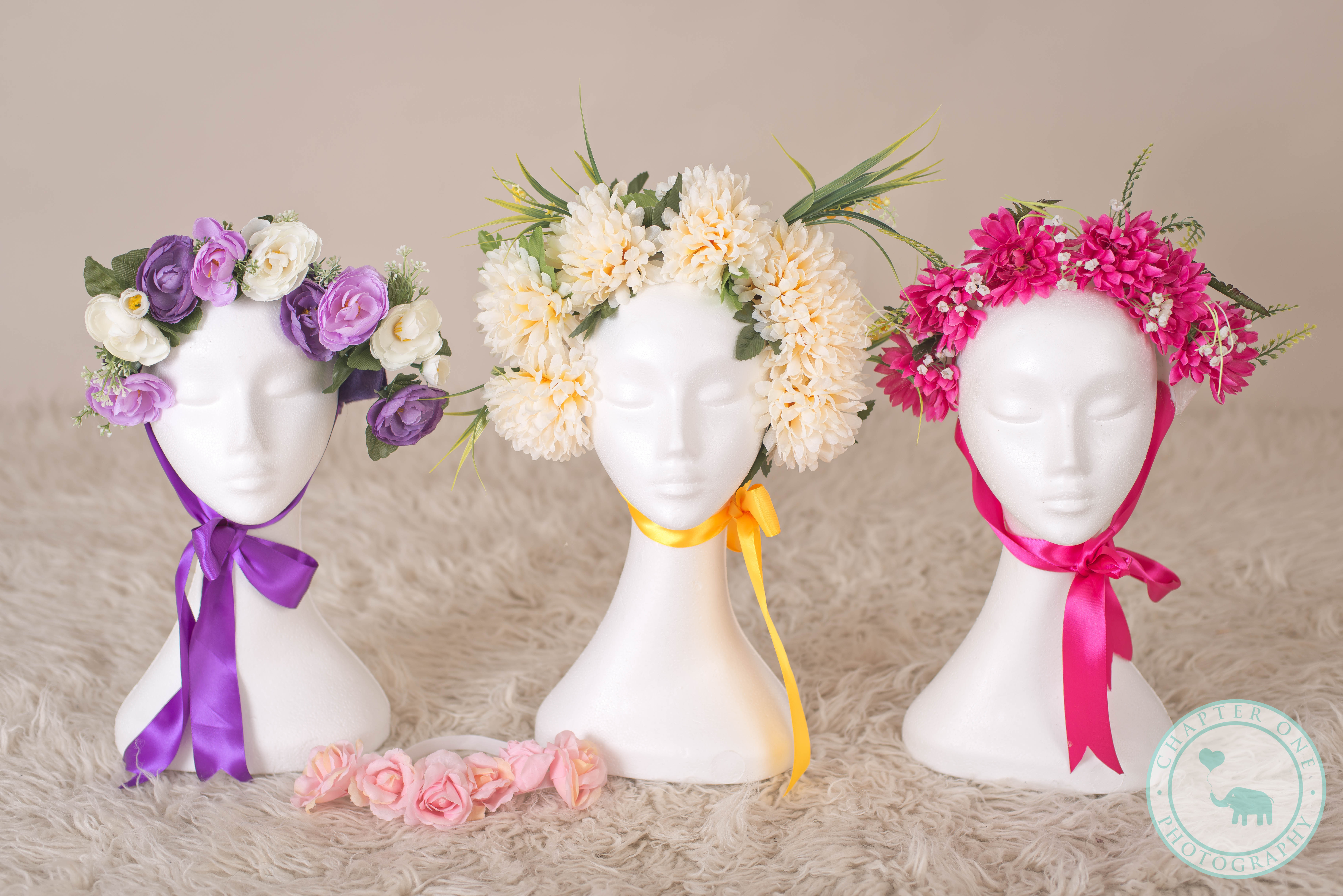 Newborn Photography floral bonnets