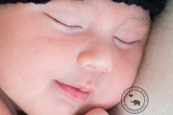 macro shot of newborn baby's face