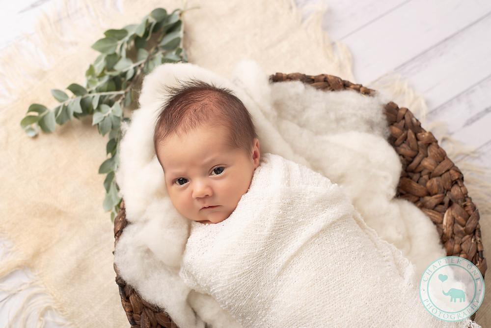 Newborn boy in basket, natural photo